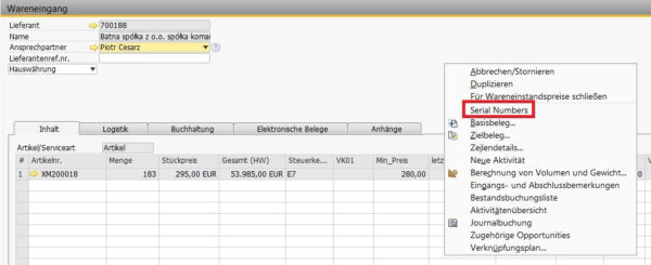 seriennummern in sap-sap-business-one-addon-konsultec-screenshot