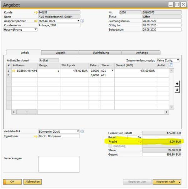 shipcost2sap-sap-business-one-addon-konsultec-screenshot2